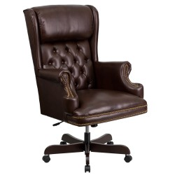 High Back Traditional Tufted Brown Leather Executive Office Chair