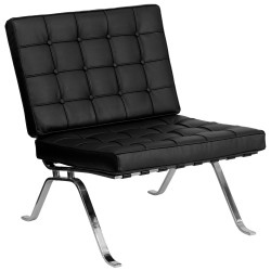 Friendly Collection Black Leather Lounge Chair with Curved Legs