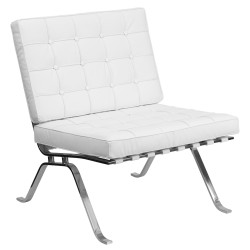 Friendly Collection White Leather Lounge Chair with Curved Legs
