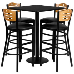 30'' Square Black Laminate Table Set with 4 Wood Slat Back Metal Bar Stools - Black Vinyl Seat