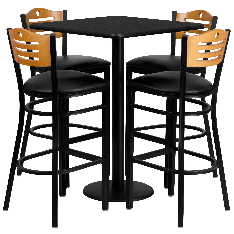 30 Square Black Laminate Table Set With 4 Wood Slat Back Metal Bar