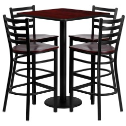 30'' Square Mahogany Laminate Table Set with 4 Ladder Back Metal Bar Stools - Mahogany Wood Seat