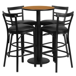 24'' Round Natural Laminate Table Set with 4 Ladder Back Metal Bar Stools - Black Vinyl Seat