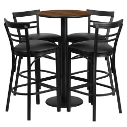 24'' Round Walnut Laminate Table Set with 4 Ladder Back Bar Stools - Black Vinyl Seat