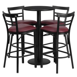24'' Round Black Laminate Table Set with 4 Ladder Back Metal Bar Stools - Burgundy Vinyl Seat