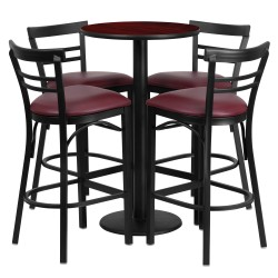 24'' Round Mahogany Laminate Table Set with 4 Ladder Back Metal Bar Stools - Burgundy Vinyl Seat
