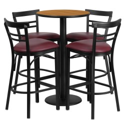 24'' Round Natural Laminate Table Set with 4 Ladder Back Metal Bar Stools - Burgundy Vinyl Seat