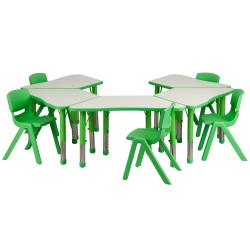 Green Trapezoid Plastic Activity Table Configuration with 5 School Stack Chairs