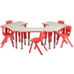 Red Trapezoid Plastic Activity Table Configuration with 5 School Stack Chairs
