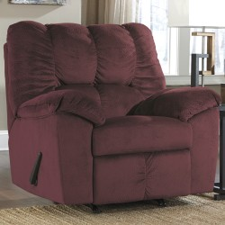 Velvetine Rocker Recliner in Burgundy Fabric