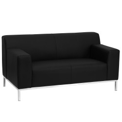 Basal Collection Contemporary Black Leather Love Seat with Stainless Steel Frame