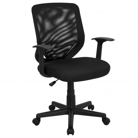 Mid-Back Black Mesh Office Chair with Mesh Fabric Seat
