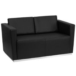 Debonair Collection Contemporary Black Leather Love Seat with Stainless Steel Base