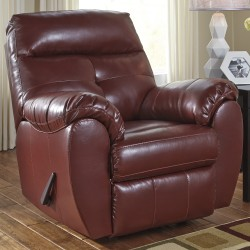 Benchcraft Glamour Rocker Recliner in Crimson DuraBlend
