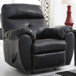 Benchcraft Glamour Rocker Recliner in Midnight DuraBlend