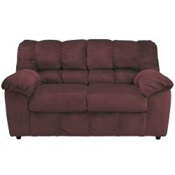 Velvetine Loveseat in Burgundy Fabric