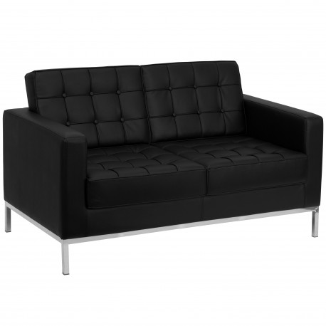 Chimera Collection Contemporary Black Leather Love Seat with Stainless Steel Frame