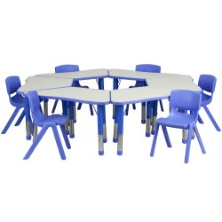 Blue Trapezoid Plastic Activity Table Configuration with 6 School Stack Chairs