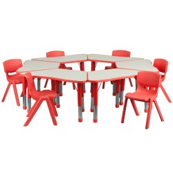 Red Trapezoid Plastic Activity Table Configuration with 6 School Stack Chairs