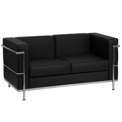 Pristine Collection Contemporary Black Leather Love Seat with Encasing Frame
