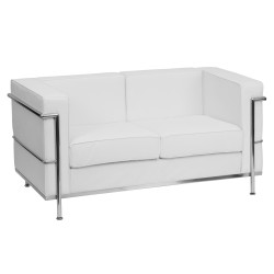 Pristine Collection Contemporary White Leather Love Seat with Encasing Frame