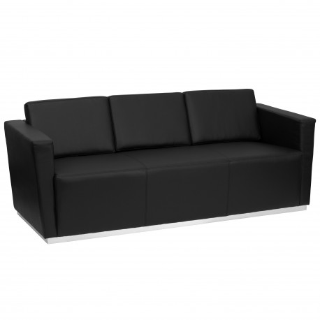 Debonair Collection Contemporary Black Leather Sofa with Stainless Steel Base