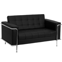 Sophia Collection Contemporary Black Leather Love Seat with Encasing Frame