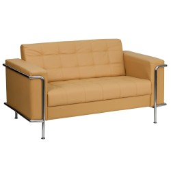 Sophia Collection Contemporary Light Brown Leather Love Seat with Encasing Frame