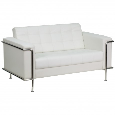 Sophia Collection Contemporary White Leather Love Seat with Encasing Frame