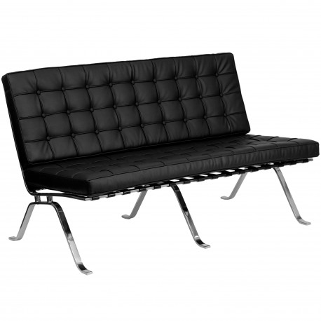 Friendly Collection Black Leather Love Seat with Curved Legs