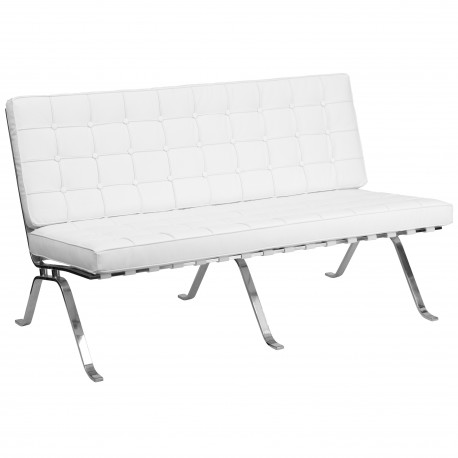 Friendly Collection White Leather Love Seat with Curved Legs