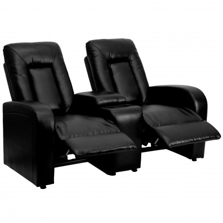 Tranquil Collection 2-Seat Reclining Black Leather Theater Seating Unit with Cup Holders