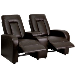 Tranquil Collection 2-Seat Reclining Brown Leather Theater Seating Unit with Cup Holders