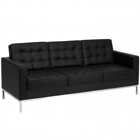 Chimera Collection Contemporary Black Leather Sofa with Stainless Steel Frame
