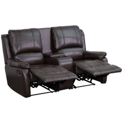 Repose Collection 2-Seat Reclining Pillow Back Brown Leather Theater Seating Unit with Cup Holders