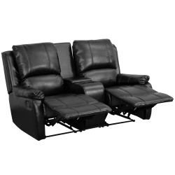 Repose Collection 2-Seat Reclining Pillow Back Black Leather Theater Seating Unit with Cup Holders