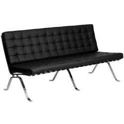 Friendly Collection Black Leather Sofa with Curved Legs