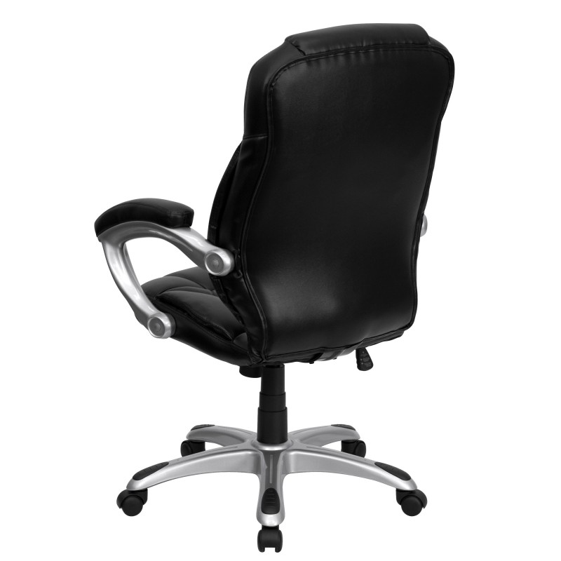 High back black leather contemporary office chair for Contemporary black leather chairs