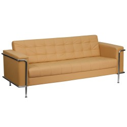 Sophia Collection Contemporary Light Brown Leather Sofa with Encasing Frame