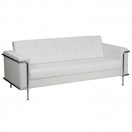 Sophia Collection Contemporary White Leather Sofa with Encasing Frame