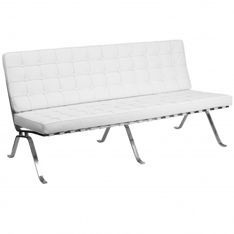 Friendly Collection White Leather Sofa with Curved Legs