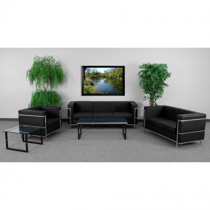 Pristine Collection Contemporary Black Leather Sofa with Encasing Frame