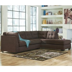Benchcraft Cozy Sectional with Right Side Facing Chaise in Walnut Microfiber