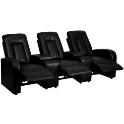 Tranquil Collection 3-Seat Reclining Black Leather Theater Seating Unit with Cup Holders