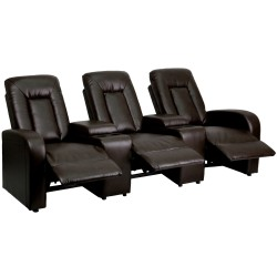 Tranquil Collection 3-Seat Reclining Brown Leather Theater Seating Unit with Cup Holders