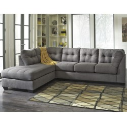 Benchcraft Cozy Sectional with Left Side Facing Chaise in Charcoal Microfiber