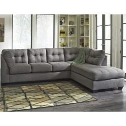 Benchcraft Cozy Sectional with Right Side Facing Chaise in Charcoal Microfiber