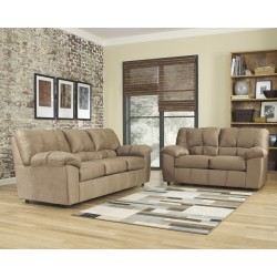 Champion Living Room Set in Mocha Fabric