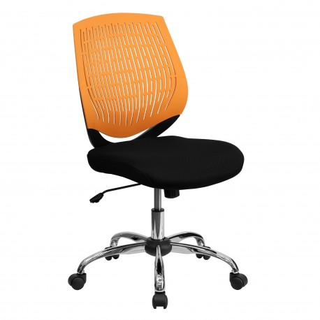 Mid-Back Orange Designer Back Task Chair with Chrome Base