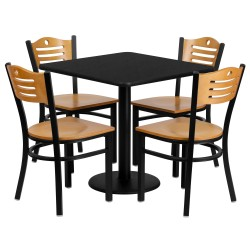 30'' Square Black Laminate Table Set with 4 Wood Slat Back Metal Chairs - Natural Wood Seat